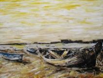 Boote am Strand von Cadiz